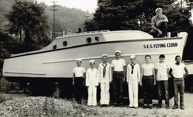 Kittanning Sea Scouts 1955 along side the S.E.S. Flying Cloud with Roy Hoover as the Skipper