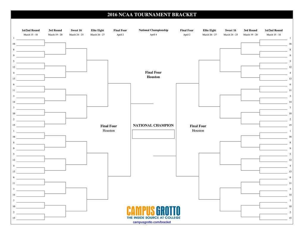image relating to Ncaa Bracket Printable Blank called 2016 NCAA Event Bracket Printable Blank NCAA Tourname