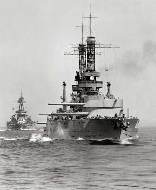 USS Idaho (BB-42) (foreground) and USS Texas (BB-35)