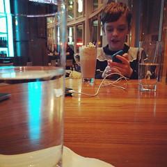 Drinking the last night of his pre-teen years away in the hotel bar #birthdayweekend with @johnfoord