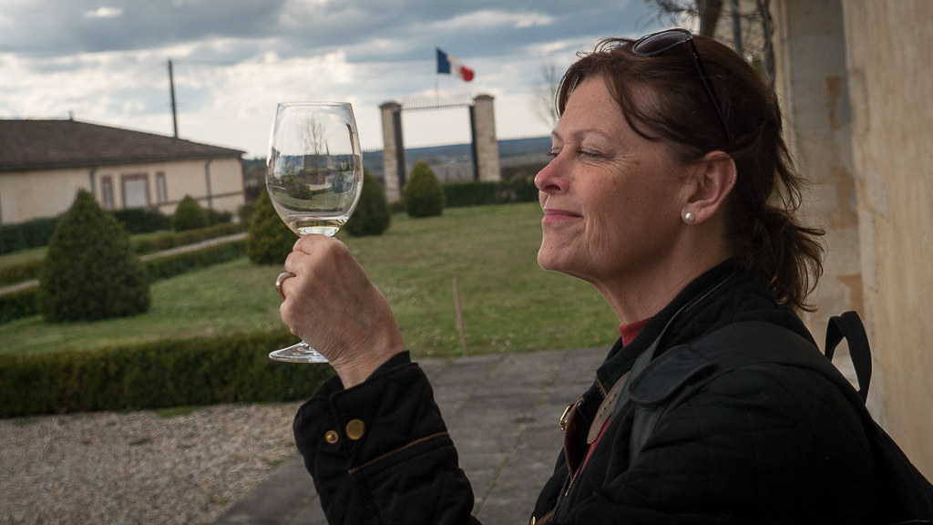 Sampling Sauternes at Château Guiraud. © 2016 Ralph Grizzle