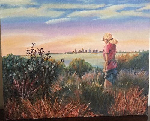 painting oil art melbourne scenery figure drawing artwork original beach australia canvas skyline