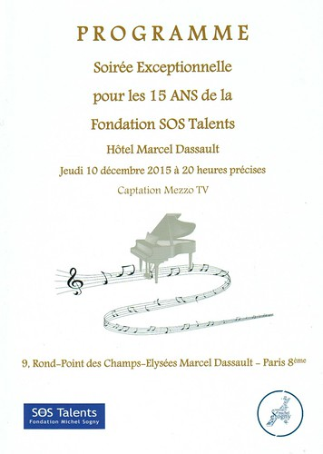 PROGRAMME GALA SOS TALENTS A L'HOTEL DASSAULT 2015 | by msogny