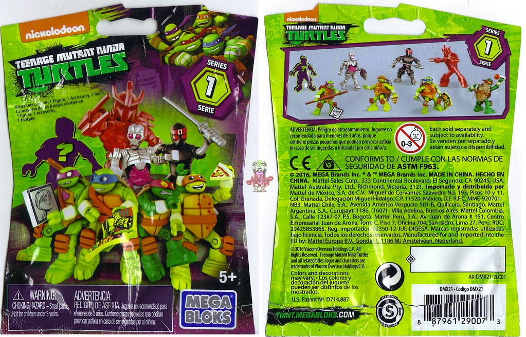 MEGA BLOKS ::  Nickelodeon TEENAGE MUTANT NINJA TURTLES ::  Micro Action Figures Series I, blind bag (( 2016)) by tOkKa