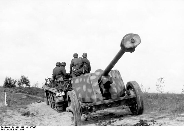A camouflaged 7.5 cm PaK 40