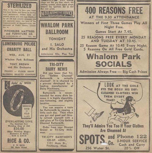 Whalom Park Ballroom Advertisements : 1940 | Three ads featu