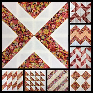 Half way through my #16hstquiltsampler . I make each block using 16 #halfsquaretriangles. I make 8 #HSTs at once. I've posted the #tutorials on my blog.https://mypatchwork.wordpress.com/2015/12/21/block-8-16-hst-quilt-sampler/