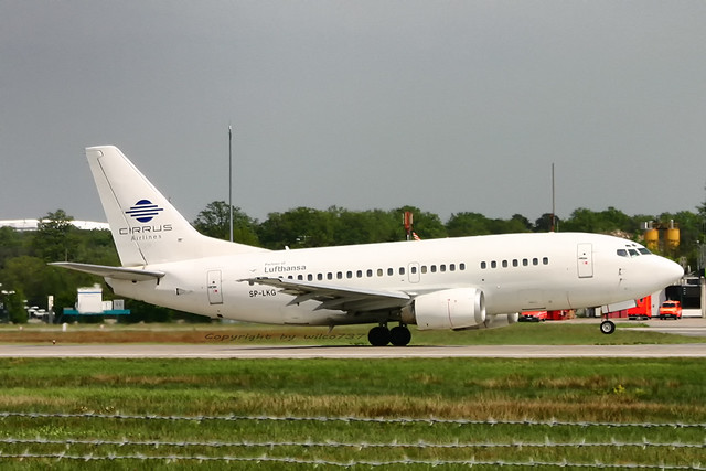 Cirrus Airlines Boeing 737-500 departing FRA