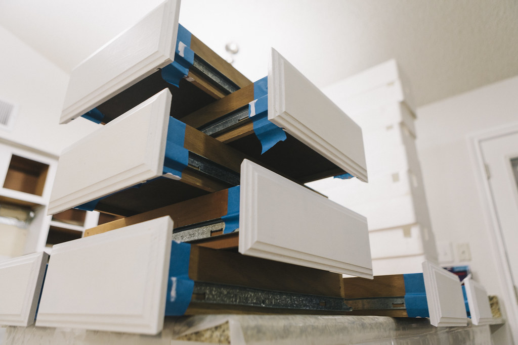 0411 Stack of painted drawers