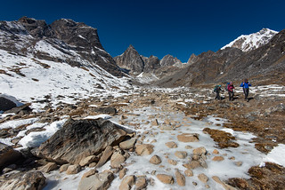 Trackers on the way from Cho La Pass (5400m), Nepal
