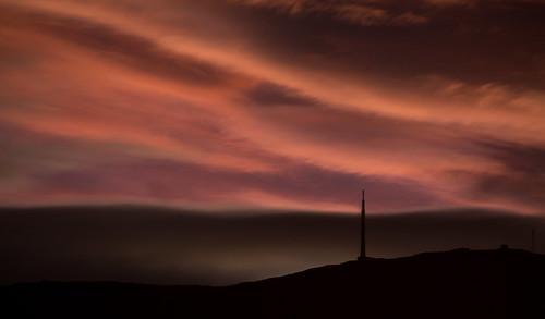 sunset sky mountain night clouds dark dusk tasmania hobart mtwellington kunanyi