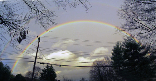 trees rainbow colorful bluesky utilitypole easternsky whiteclouds panoramicview putnamcounty carmelny utilitywires winter2016