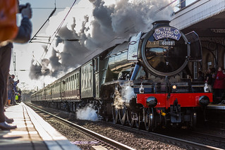 "LNER Recently restored Class A3 60103 (4472) The ""Flying Scotsman"" At Newark Station on 25-02-2016 with it's inaugural run from Kings Cross to York 