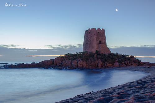 sardegna blue sea sky italy panorama moon tower beach clouds sunrise landscape italia nuvole mare torre shot image alba luna riflessi spiaggia barisardo torrespagnola
