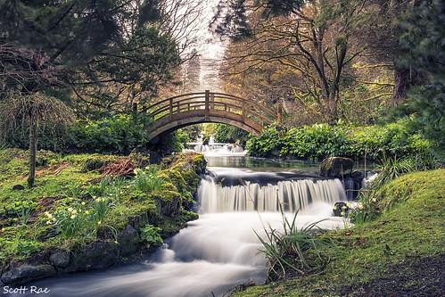 bridge trees water japan gardens river scotland waterfall spring stream peebles ornamental scottishborders slowwater stobocastle japanesewatergardens