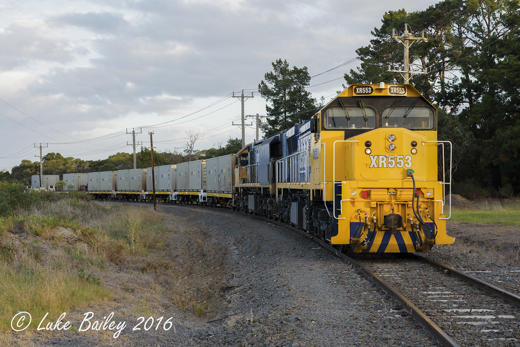 XR553-XR559 with #9556 up Long Island goods wait line at Long Island Junction by Luke's Rail Gallery