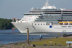 Cruiseship Costa Deliziosa in Amsterdam with war memorial