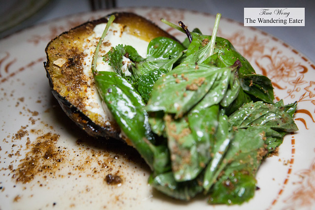 Burnt acorn squash, goat cheese, basil