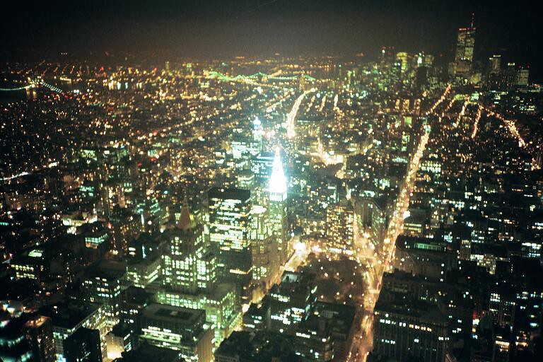 Downtown view from Empire State Building, Nov 1996