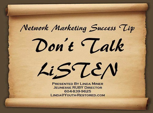 """#NetworkMarketingSuccessTip - Don't Talk, LISTEN by Linda Miner  Linda Miner talks about the importance of """"Active Listening"""" when approaching prospects about the business. Ask lots of questions, but then focus on listening to the answers and looking for"""