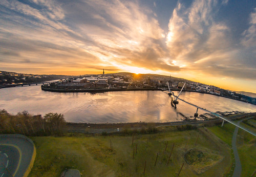 city ireland light sunset sky sun water clouds river photography town parrot bebop derry global walled guildhall peacebridge riverfoyle