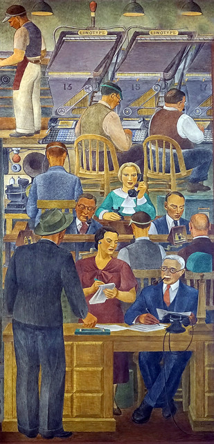 """""""Newsgathering"""" Coit Tower murals - the Press Room"""