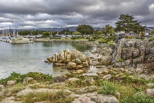 california trees beach clouds boats monterey rocks montereybay pacificocean wharf fishermanswharf darkclouds montereypeninsula joelach