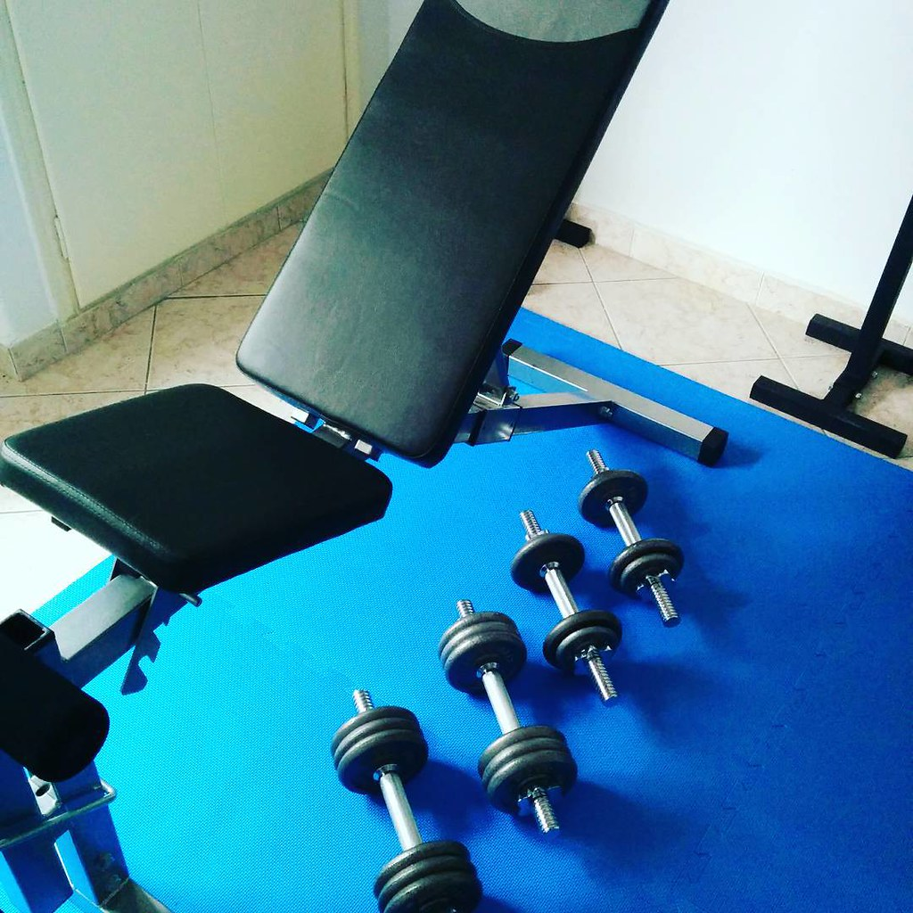 My home gym use dumbbells in bench to strengthen upper bou flickr