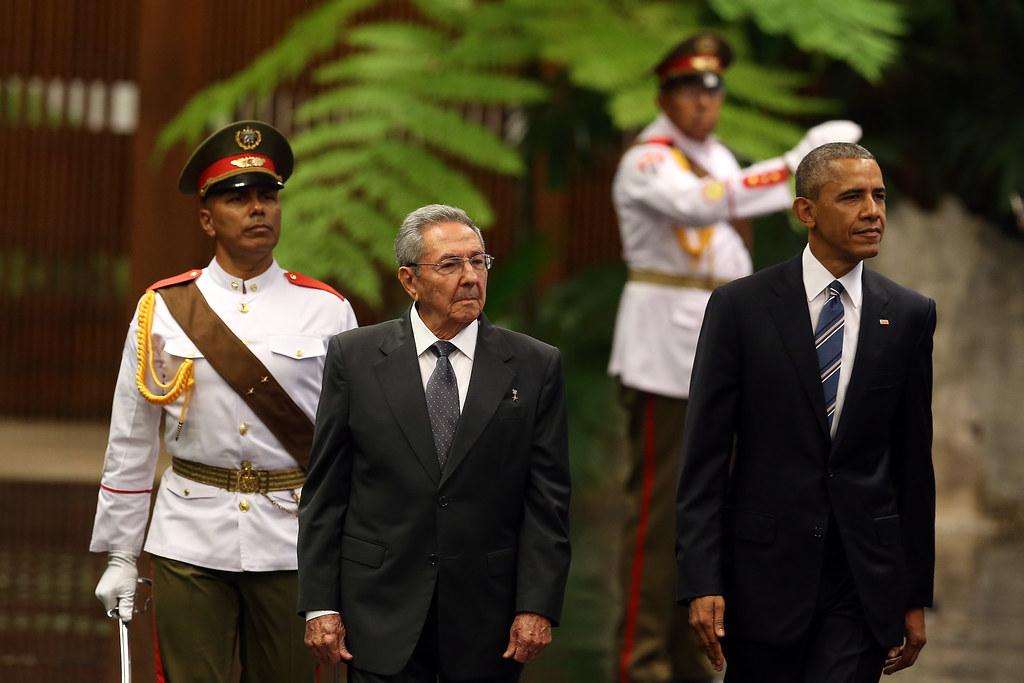 Ceremonia oficial de recibimiento en el Palacio de la Revolución.