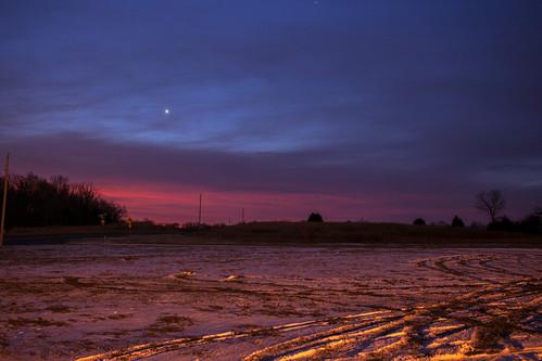 park blue winter snow sunrise venus tracks tire mo missouri springs planet fleming