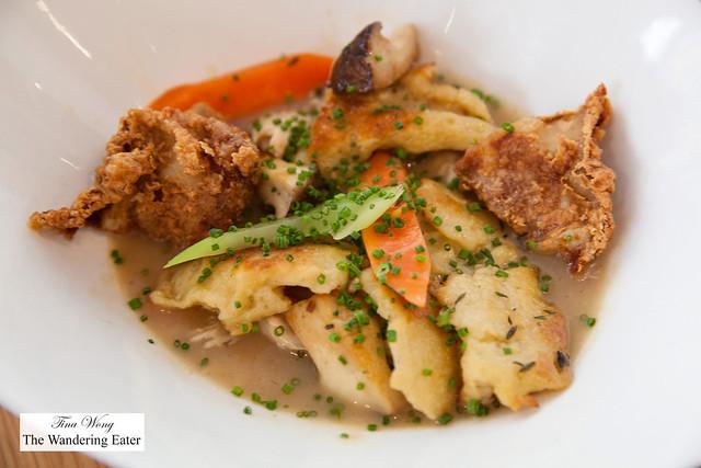 Roasted and fried chicken, spaetzle dumplings, trumpet mushrooms