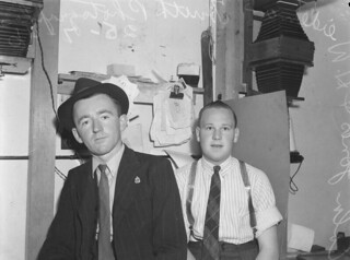 Colin Jones and H. Weideman. Truth photographers in the studio, Brisbane 1946