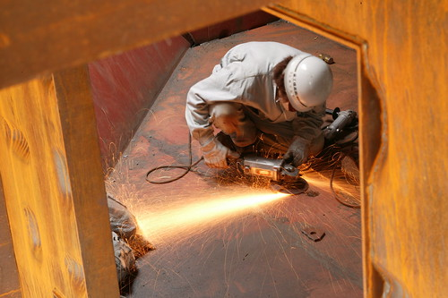 Grinding welds at K Museum. | by Dana + LeRoy