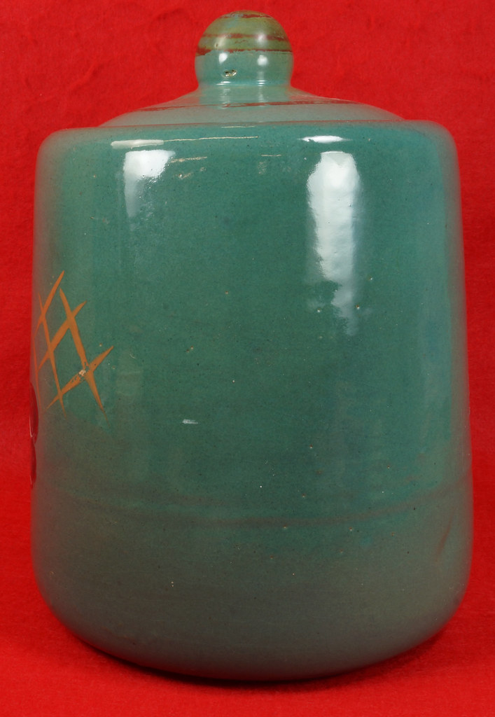 Sold Large Vintage Cookie Jar With Painted Fruit Bag