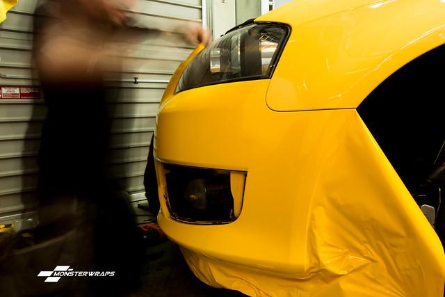 Audi S3 8P Gloss yellow full wrap, reflective calipers and custom camo graphics