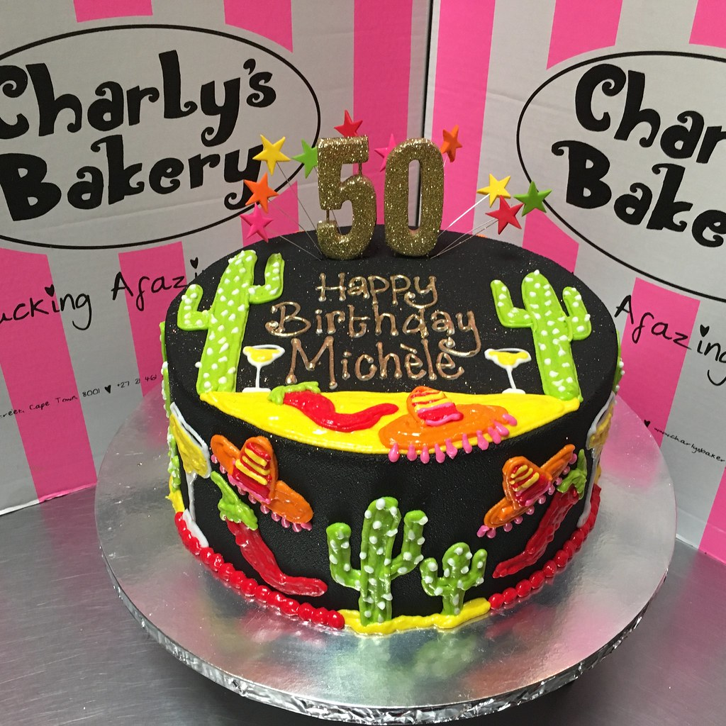 Groovy Mexican Themed 50Th Birthday Cake Iced In Black Ganache Wi Flickr Funny Birthday Cards Online Overcheapnameinfo