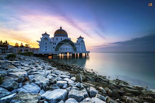sunrise seaside rocks sony filter alpha melaka nisi masjidselat raymaster nurismailphotography a7rii ilce7rm2