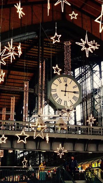 Station clocks in the Promenade Hall, Central Station, Haubtbahnhof Hamburg, Germany