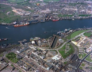 Aerial view of South Shields, 1977
