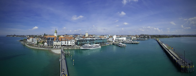 Panorama view to Friedrichshafen from Moleturm - Germany
