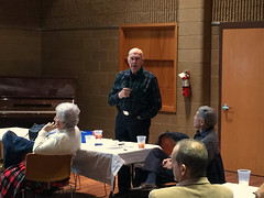 Frank Bouknight supplements Scott Tarkenton's Casino Night presentation with sponsorship information.   The 2016 Winter Assembly included new member Steve Ramirez's induction, Casino Night presentation from Scott Tarkenton, a membership update from Chris Morden and a website update from Mike Wienold.