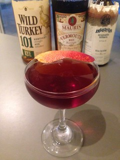 Manhattan with Wild Turkey 101 rye whiskey, Maurin sweet vermouth, Angostura bitters #cocktail  #cocktails #craftcocktails #manhattan #rye #whiskey | by *FrogPrincesse*