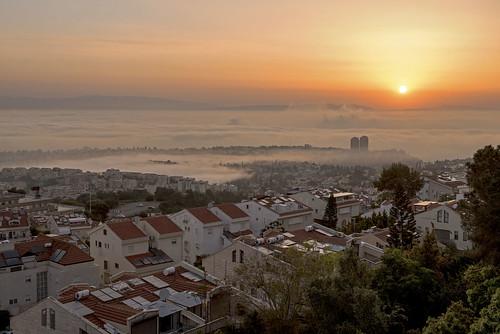 morning sky mist fog skyline sunrise landscape israel cityscape ngc haifa urbanlandscape