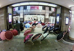 umbrella sale in rainy Hiroshima #fisheye