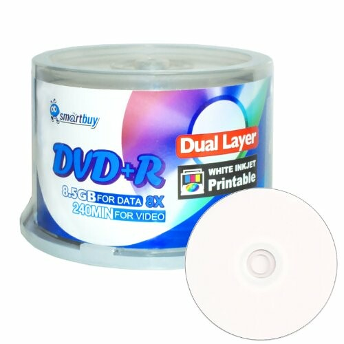 Smart Buy 50 Pack Dvd+r Dl 8.5gb 8x DVD Plus R Double Layer Printable White Inkjet Blank Data Recordable Media 50 Discs Spindle | by kispvtltd2