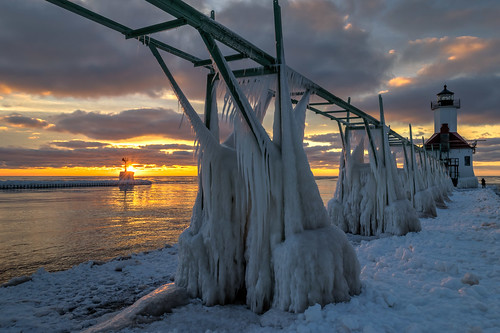 winter sunset sky lighthouse cold reflection ice clouds reflections geotagged evening frozen nikon unitedstates michigan stjoseph lakemichigan hdr saintjoseph oudoors stjosephlighthouse nikond5300