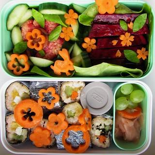 (45% raw) vegetarian Hanami bento 1