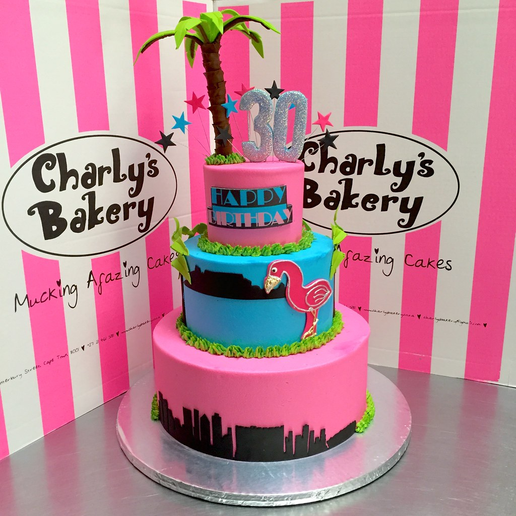 Enjoyable Miami Vice Themed 3 Tier 30Th Birthday Cake With Skyline Flickr Funny Birthday Cards Online Alyptdamsfinfo