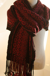red shadow weave scarf