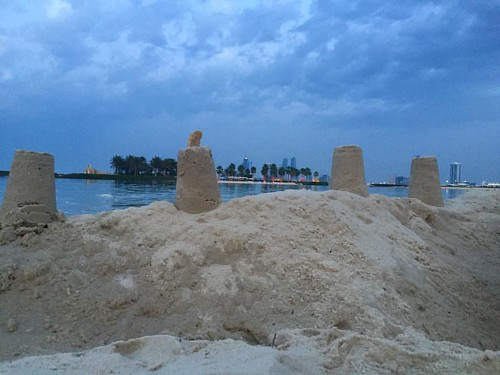 An afternoon well spent - building sandcastles #cityscape #sandcastle #sky #skyporn #mineret #sea#horizon #tide | by angee09